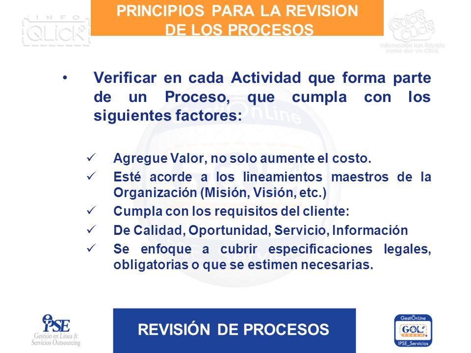 REVISIÓN DE PROCESOS PRINCIPIOS PARA LA REVISION DE LOS PROCESOS Verificar en cada Actividad que forma parte de un Proceso, que cumpla con los siguien