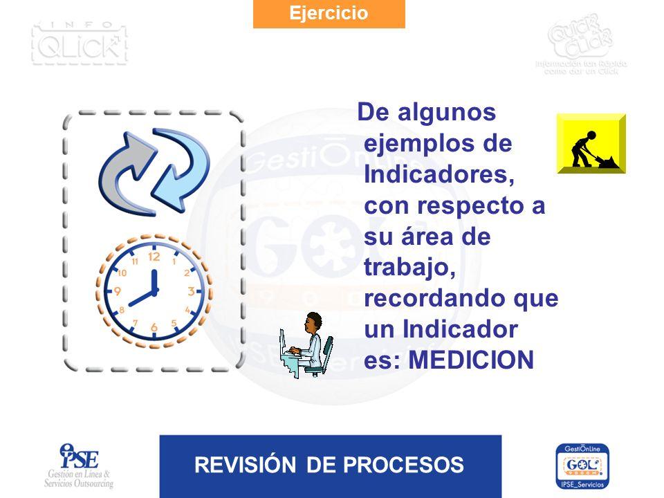 REVISIÓN DE PROCESOS Ejercicio De algunos ejemplos de Indicadores, con respecto a su área de trabajo, recordando que un Indicador es: MEDICION