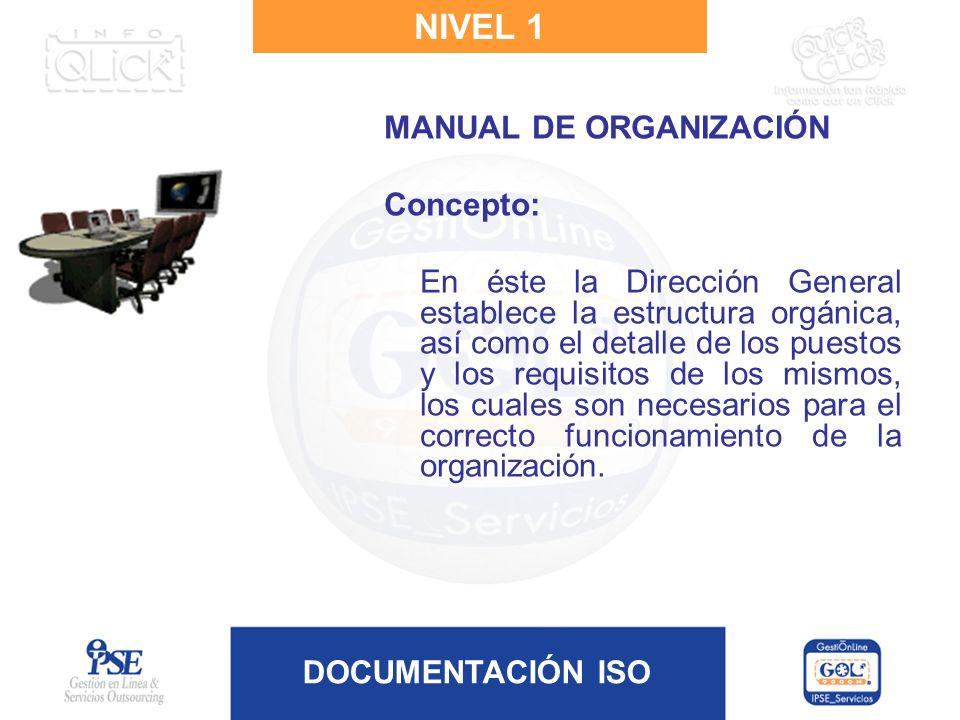DOCUMENTACIÓN ISO NIVEL 1 MANUAL DE ORGANIZACIÓN Concepto: En éste la Dirección General establece la estructura orgánica, así como el detalle de los p