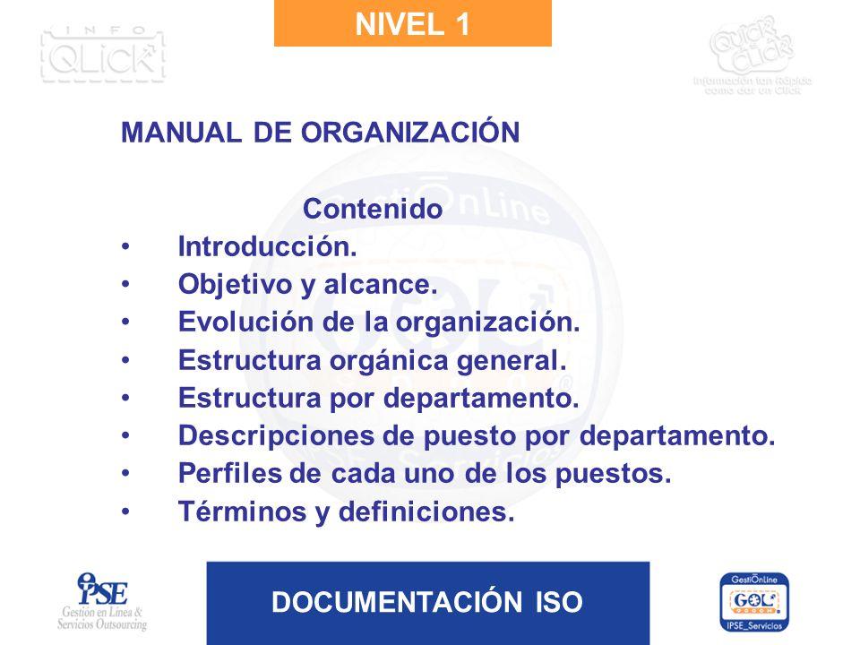 DOCUMENTACIÓN ISO NIVEL 1 MANUAL DE ORGANIZACIÓN Contenido Introducción. Objetivo y alcance. Evolución de la organización. Estructura orgánica general