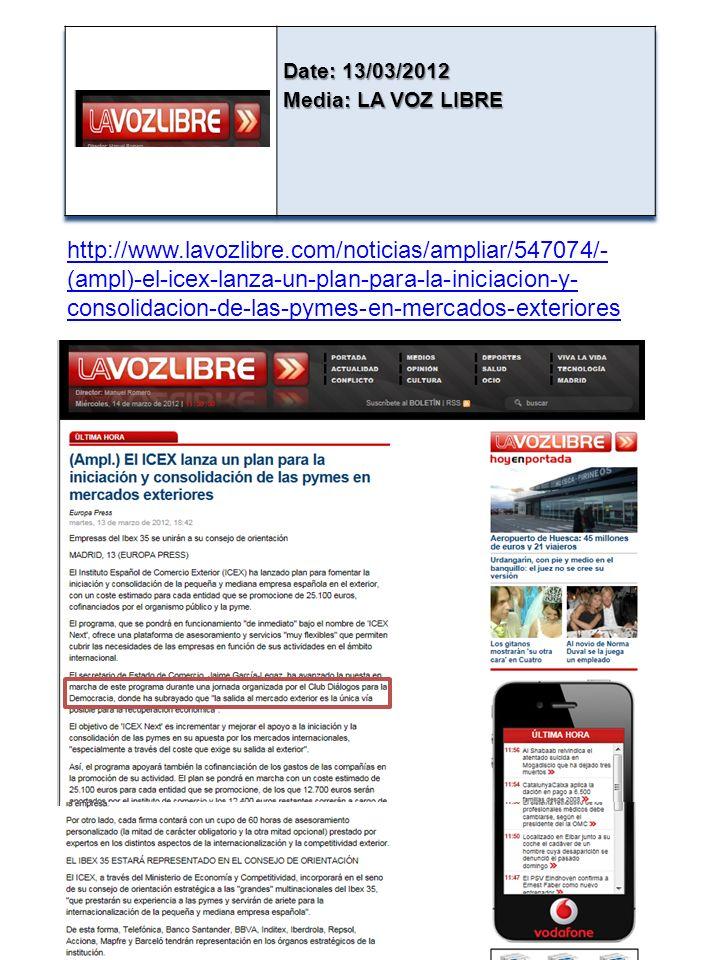 http://www.lavozlibre.com/noticias/ampliar/547074/- (ampl)-el-icex-lanza-un-plan-para-la-iniciacion-y- consolidacion-de-las-pymes-en-mercados-exteriores