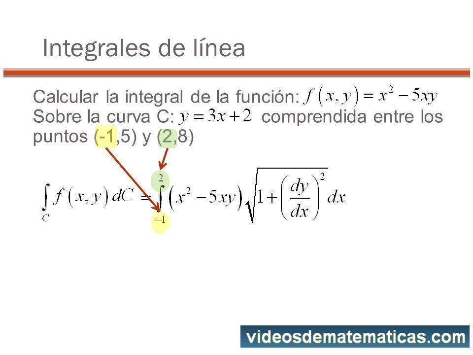 Calcular la integral de la función: Sobre la curva C: comprendida entre los puntos (-1,5) y (2,8) Integrales de línea
