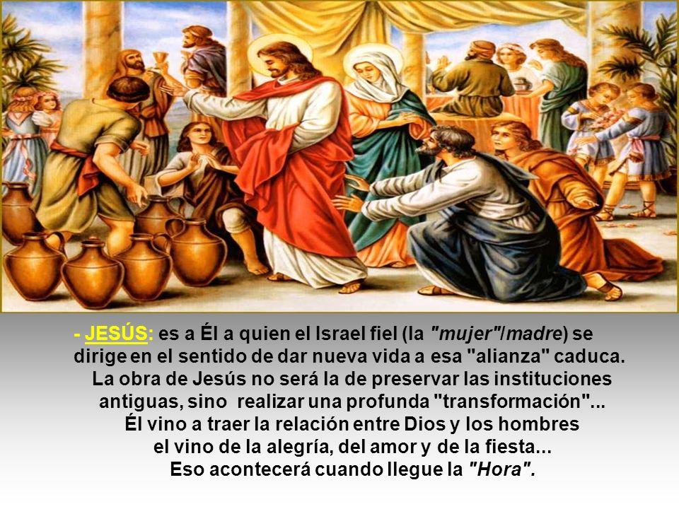 LOS PERSONAJES presentados: - La Madre : es ella quien percibe la situación ( no tienen vino ): representa al Israel fiel, que ya había percibido la realidad y esperaba que el Mesías viniese a transformar esa situación.