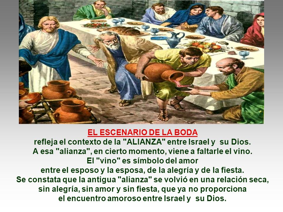 El Evangelio habla de las Bodas de Caná. (Jn 2,1-11) Jesús realiza el primer milagro,