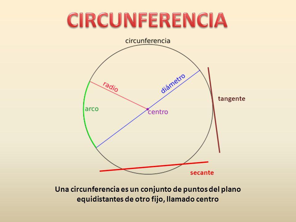 Una circunferencia es un conjunto de puntos del plano equidistantes de otro fijo, llamado centro tangente secante