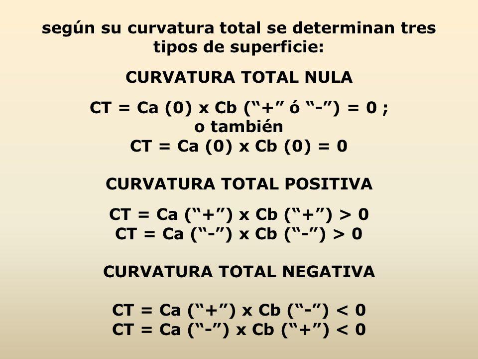 según su curvatura total se determinan tres tipos de superficie: CURVATURA TOTAL NULA CT = Ca (0) x Cb (+ ó -) = 0 ; o también CT = Ca (0) x Cb (0) =