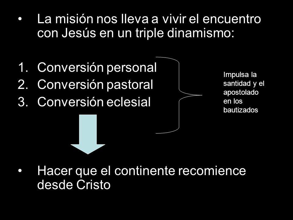 La misión nos lleva a vivir el encuentro con Jesús en un triple dinamismo: 1.Conversión personal 2.Conversión pastoral 3.Conversión eclesial Hacer que