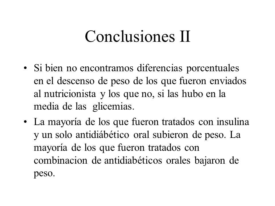 Conclusiones II Si bien no encontramos diferencias porcentuales en el descenso de peso de los que fueron enviados al nutricionista y los que no, si las hubo en la media de las glicemias.