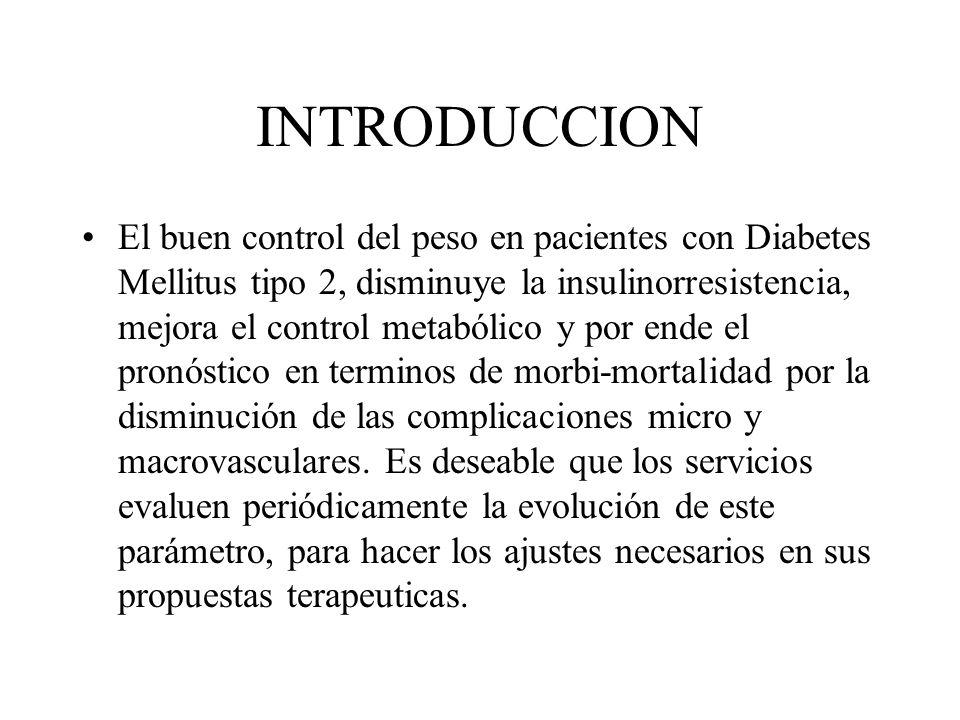 INTRODUCCION El buen control del peso en pacientes con Diabetes Mellitus tipo 2, disminuye la insulinorresistencia, mejora el control metabólico y por ende el pronóstico en terminos de morbi-mortalidad por la disminución de las complicaciones micro y macrovasculares.