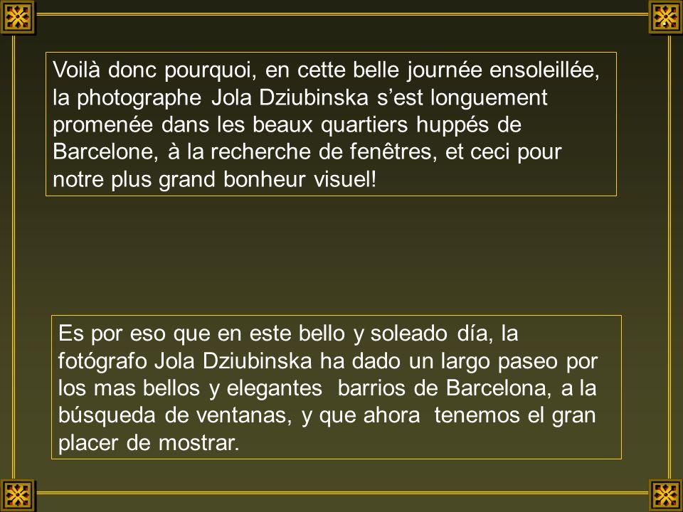 Voilà donc pourquoi, en cette belle journée ensoleillée, la photographe Jola Dziubinska sest longuement promenée dans les beaux quartiers huppés de Barcelone, à la recherche de fenêtres, et ceci pour notre plus grand bonheur visuel.