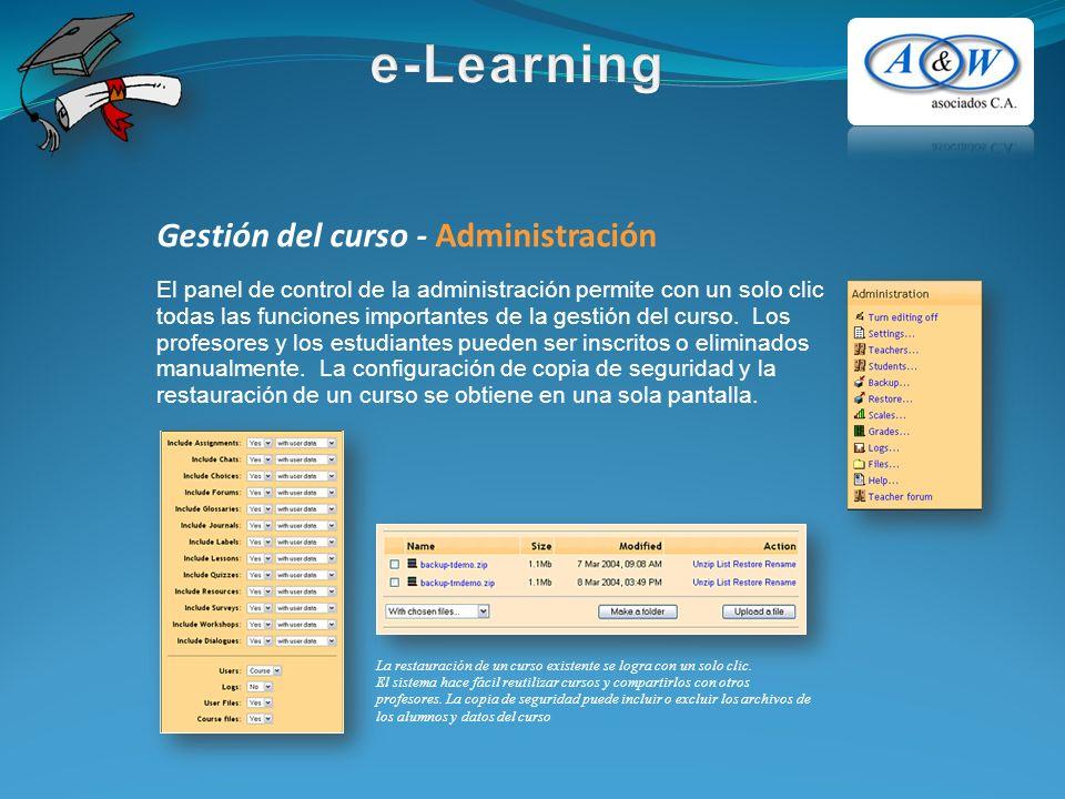 Gestión del curso - Administración El panel de control de la administración permite con un solo clic todas las funciones importantes de la gestión del curso.