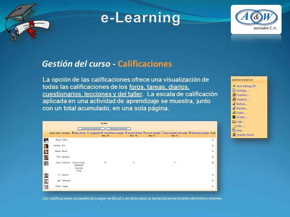 Gestión del curso - Calificaciones La opción de las calificaciones ofrece una visualización de todas las calificaciones de los foros, tareas, diarios, cuestionarios, lecciones y del taller.