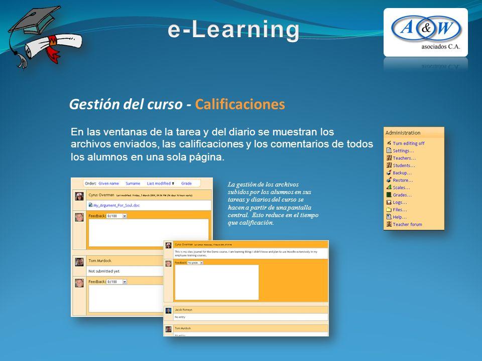 Gestión del curso - Calificaciones En las ventanas de la tarea y del diario se muestran los archivos enviados, las calificaciones y los comentarios de todos los alumnos en una sola página.