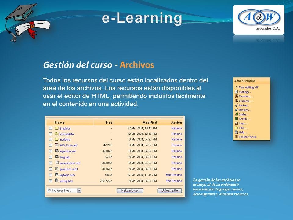 Gestión del curso - Archivos Todos los recursos del curso están localizados dentro del área de los archivos. Los recursos están disponibles al usar el