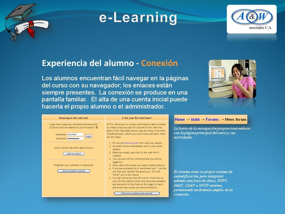 Experiencia del alumno - Conexión Los alumnos encuentran fácil navegar en la páginas del curso con su navegador; los enlaces están siempre presentes.