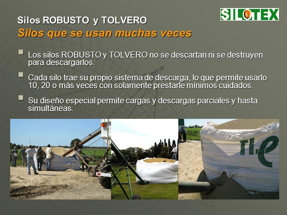 Medidas y Capacidades de Silos Textiles Portátiles SILOTEX Silos SILOTEX DACP modelomm m 3 /t kg TOLVERO SB-10 2,362,50109 TOLVERO SB-20 3,083,452215 ROBUSTO XL-1 4,143,784322 D: Diámetro a la altura de carga.