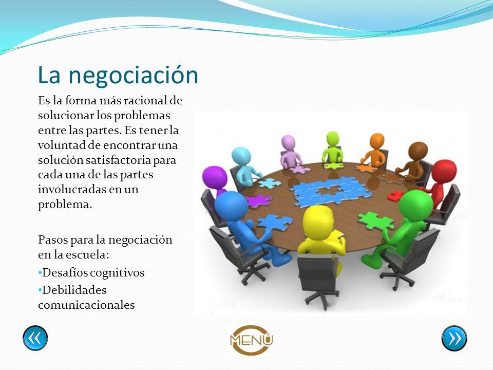 La negociación Es la forma más racional de solucionar los problemas entre las partes. Es tener la voluntad de encontrar una solución satisfactoria par