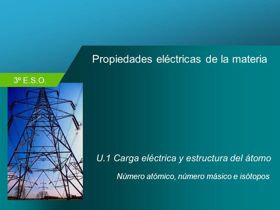 3º E.S.O. Propiedades eléctricas de la materia U.1 Carga eléctrica y estructura del átomo Número atómico, número másico e isótopos