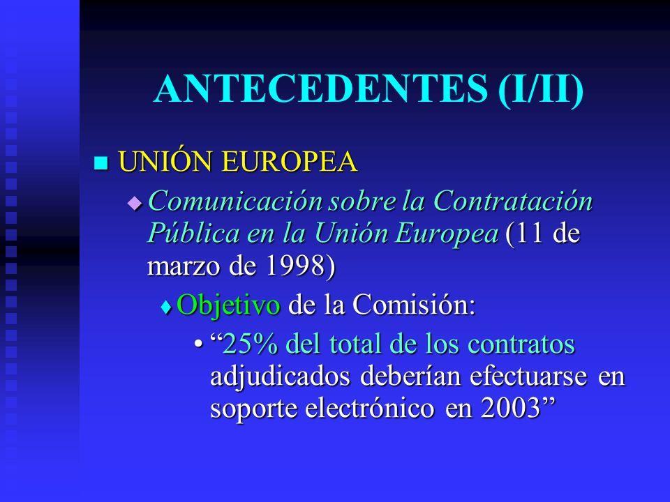 ANTECEDENTES (I/II) UNIÓN EUROPEA UNIÓN EUROPEA Comunicación sobre la Contratación Pública en la Unión Europea (11 de marzo de 1998) Comunicación sobre la Contratación Pública en la Unión Europea (11 de marzo de 1998) Objetivo de la Comisión: Objetivo de la Comisión: 25% del total de los contratos adjudicados deberían efectuarse en soporte electrónico en 200325% del total de los contratos adjudicados deberían efectuarse en soporte electrónico en 2003