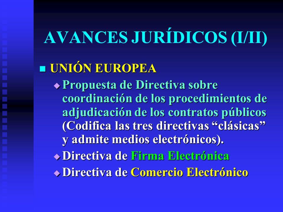 AVANCES JURÍDICOS (I/II) UNIÓN EUROPEA UNIÓN EUROPEA Propuesta de Directiva sobre coordinación de los procedimientos de adjudicación de los contratos públicos (Codifica las tres directivas clásicas y admite medios electrónicos).