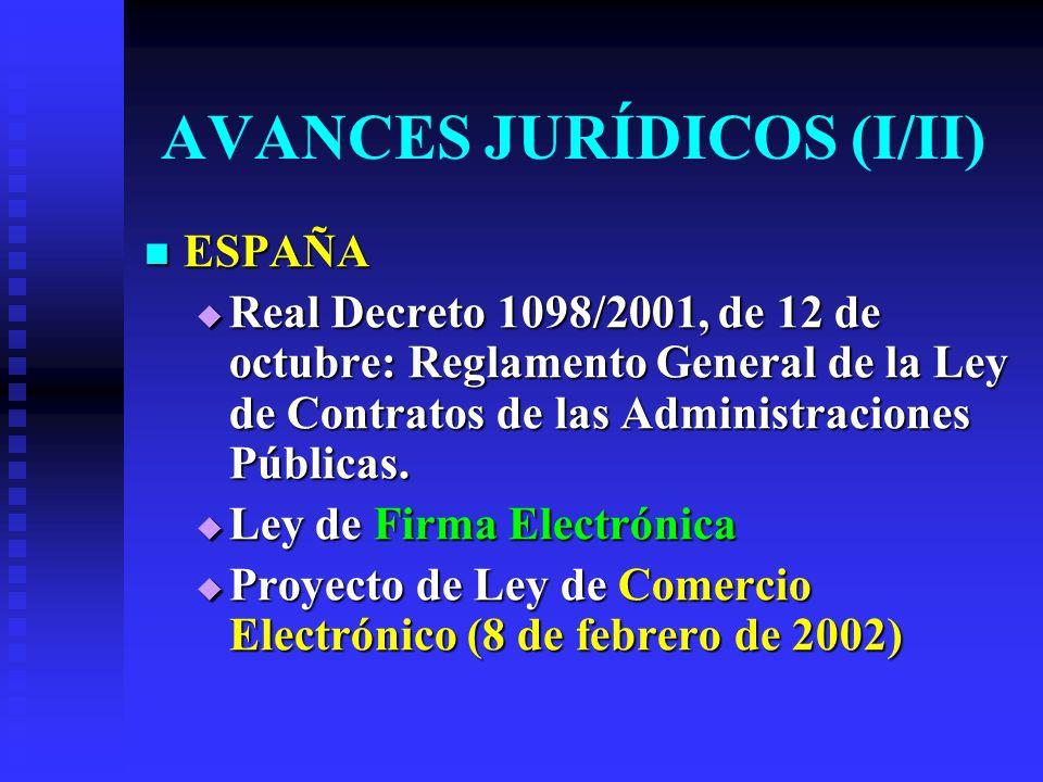 AVANCES JURÍDICOS (I/II) ESPAÑA ESPAÑA Real Decreto 1098/2001, de 12 de octubre: Reglamento General de la Ley de Contratos de las Administraciones Públicas.