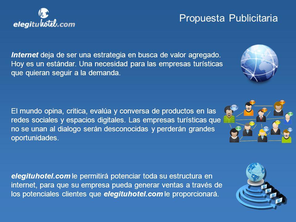 Propuesta Publicitaria Las ventajas de pertenecer a elegituhotel.com son muchas.