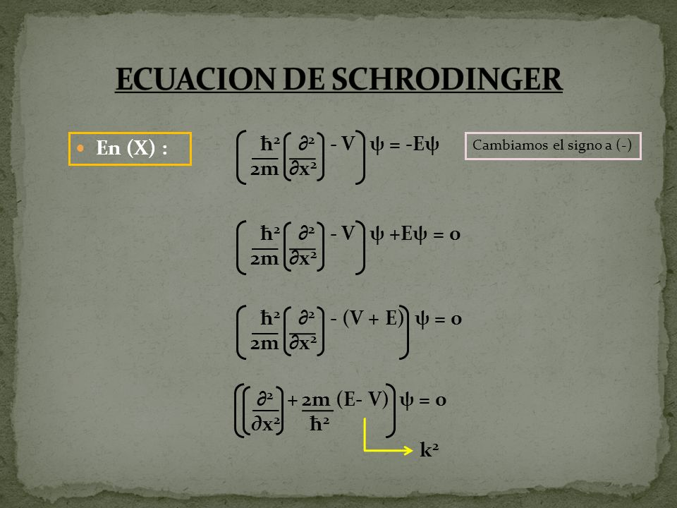En (X) : 2 ψ + k 2 ψ = 0 K 2 = 2m (E T -V) ħ 2 ψ + k 2 ψ = 0 ψ= ψ x ψ= 2 ψ x 2