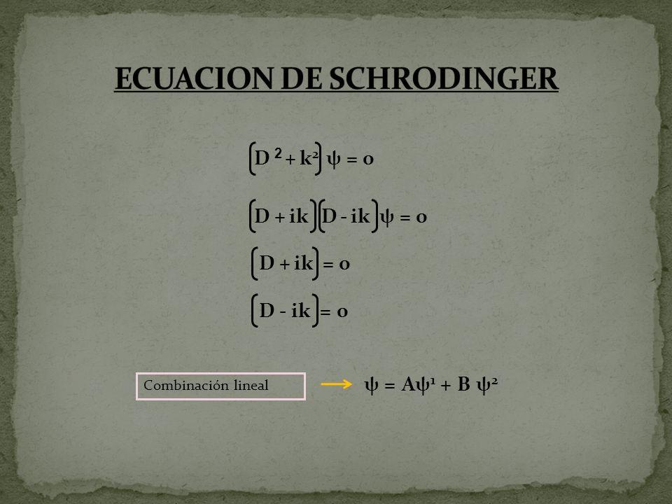 Dψ 2 - ik ψ 2 =o ψ 2 - ik ψ 2 =o x ψ 2 = ik dx ψ 2 ψ 2 = ik dx ψ 2 Ln ψ 2 = ikx + Ln A e ψ2 = e ikx.