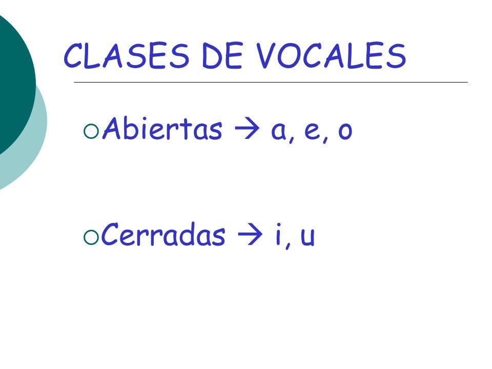 CLASES DE VOCALES Abiertas a, e, o Cerradas i, u