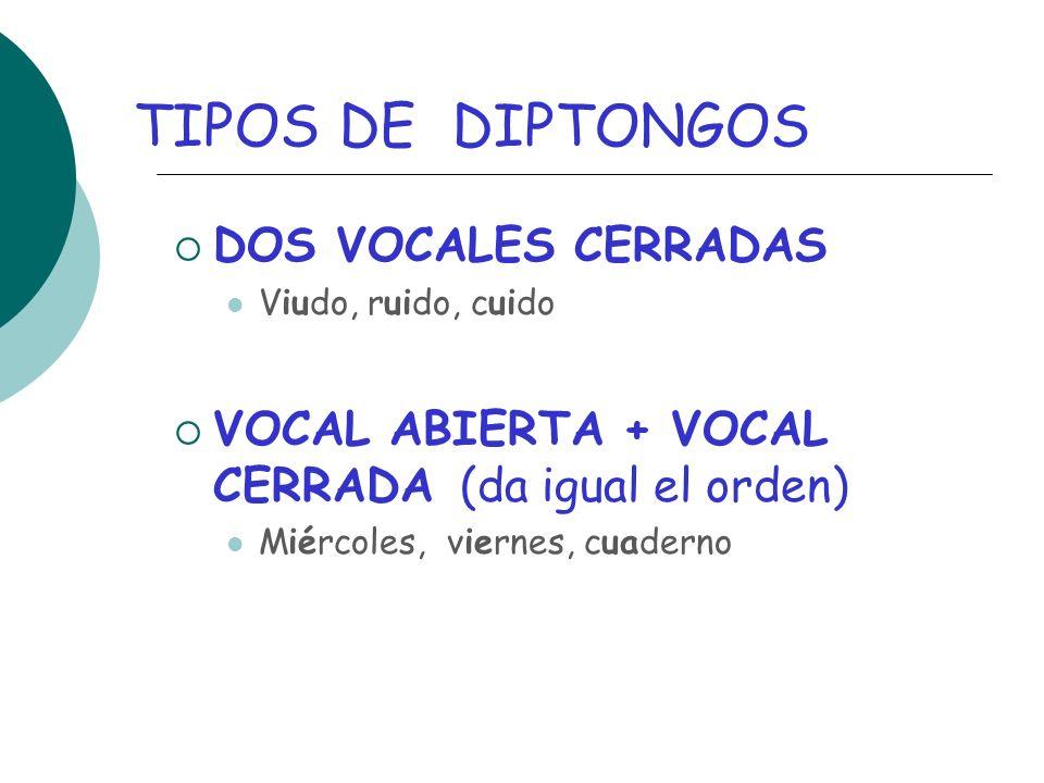 TIPOS DE DIPTONGOS DOS VOCALES CERRADAS Viudo, ruido, cuido VOCAL ABIERTA + VOCAL CERRADA (da igual el orden) Miércoles, viernes, cuaderno