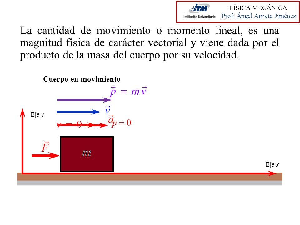 La cantidad de movimiento o momento lineal, es una magnitud física de carácter vectorial y viene dada por el producto de la masa del cuerpo por su vel