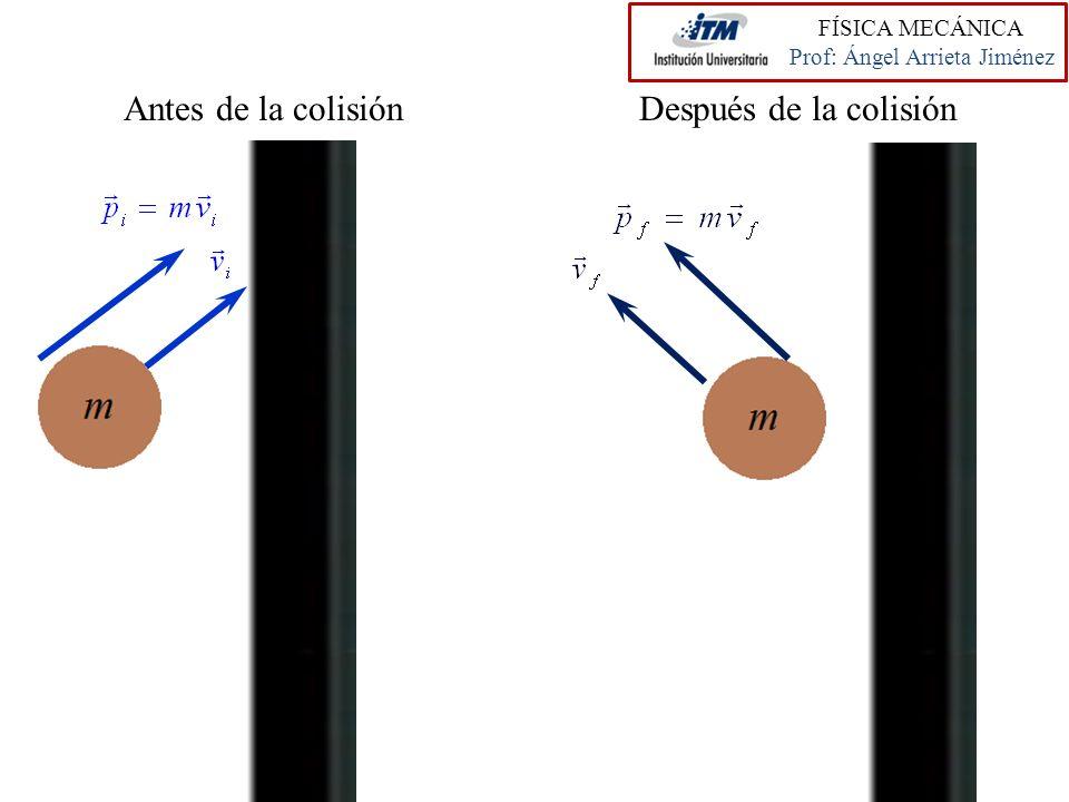 FÍSICA MECÁNICA Prof: Ángel Arrieta Jiménez Antes de la colisiónDespués de la colisión