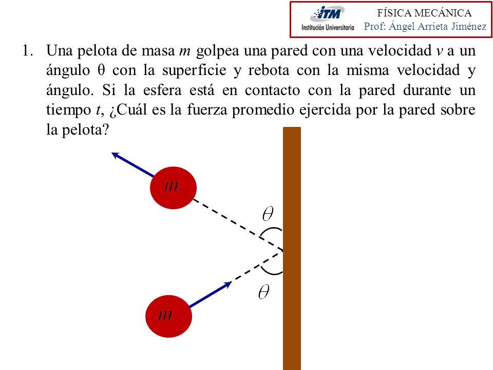1.Una pelota de masa m golpea una pared con una velocidad v a un ángulo θ con la superficie y rebota con la misma velocidad y ángulo. Si la esfera est