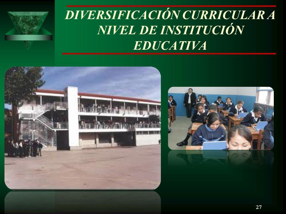27 DIVERSIFICACIÓN CURRICULAR A NIVEL DE INSTITUCIÓN EDUCATIVA 27