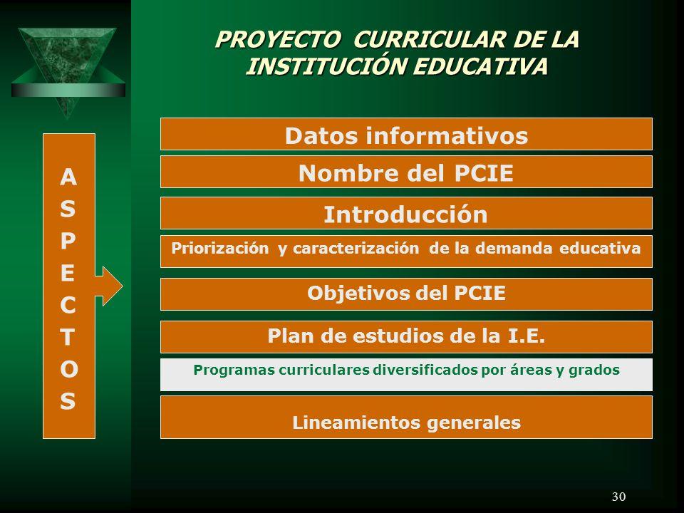 30 Datos informativos Nombre del PCIE Introducción Priorización y caracterización de la demanda educativa Objetivos del PCIE Plan de estudios de la I.E.