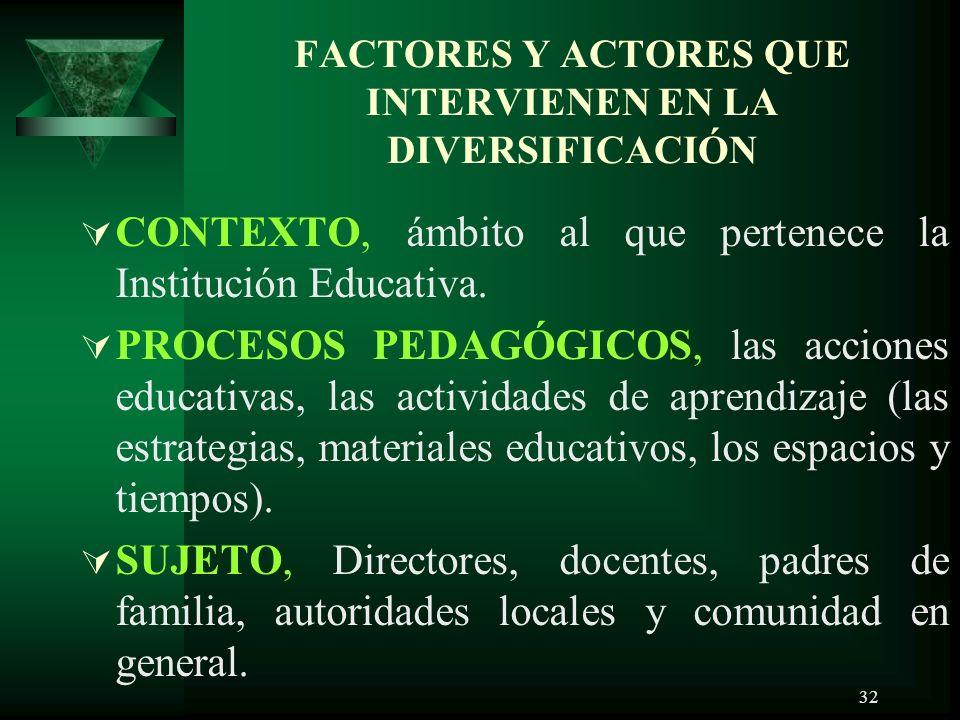 32 FACTORES Y ACTORES QUE INTERVIENEN EN LA DIVERSIFICACIÓN CONTEXTO, ámbito al que pertenece la Institución Educativa.