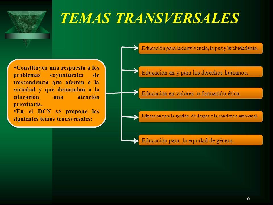 6 TEMAS TRANSVERSALES Educación para la convivencia, la paz y la ciudadanía.