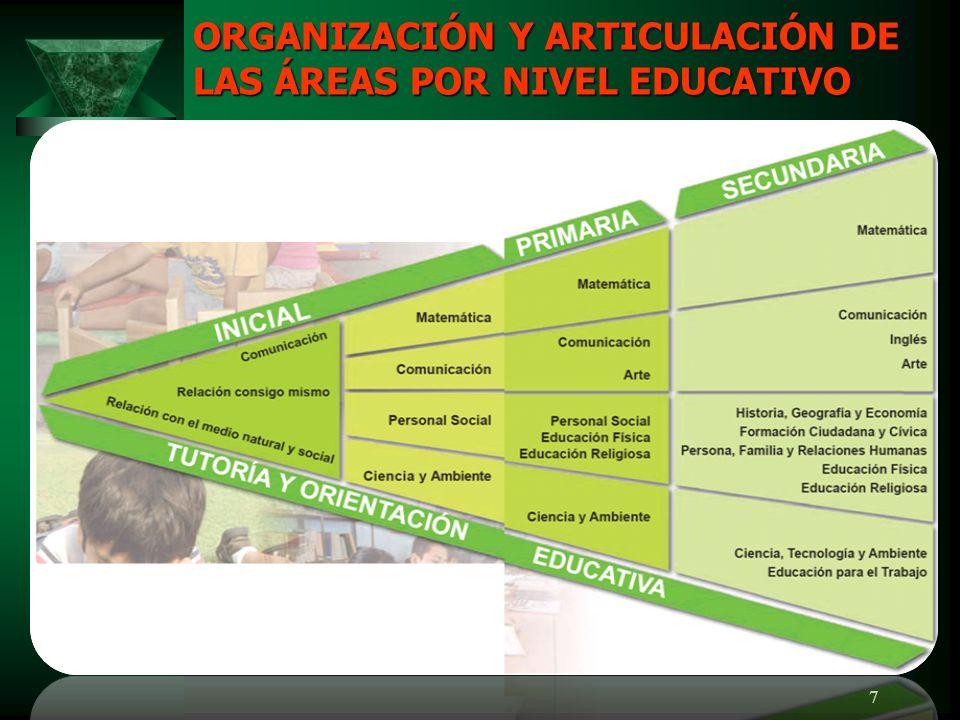 7 ORGANIZACIÓN Y ARTICULACIÓN DE LAS ÁREAS POR NIVEL EDUCATIVO