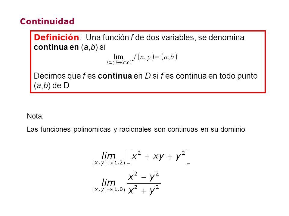 Continuidad Definición : Una función f de dos variables, se denomina continua en (a,b) si Decimos que f es continua en D si f es continua en todo punto (a,b) de D Nota: Las funciones polinomicas y racionales son continuas en su dominio