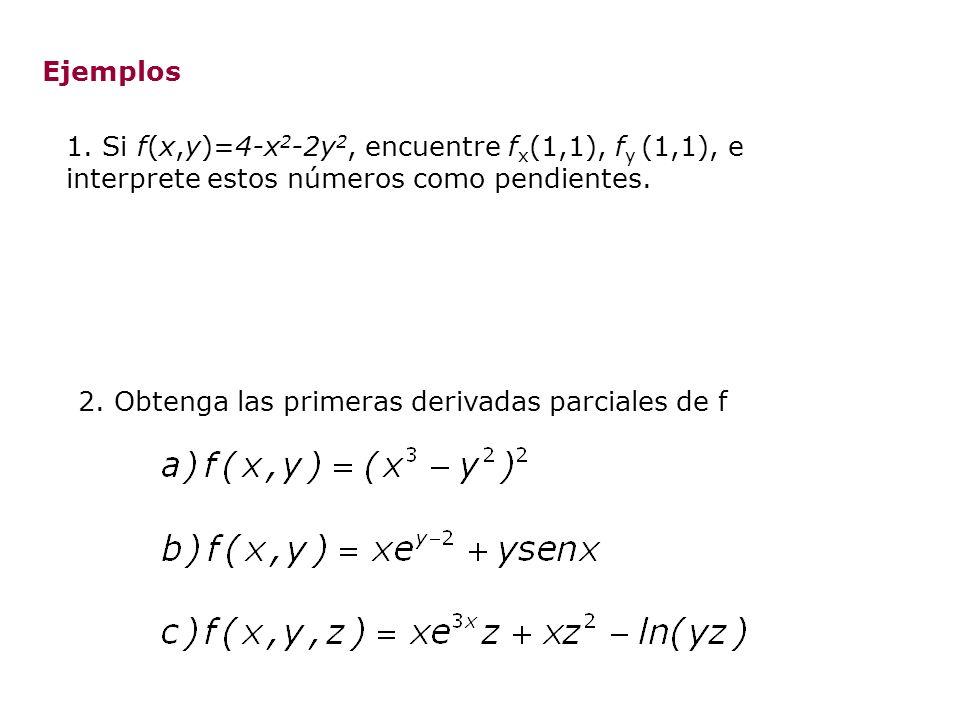 Ejemplos 1. Si f(x,y)=4-x 2 -2y 2, encuentre f x (1,1), f y (1,1), e interprete estos números como pendientes. 2. Obtenga las primeras derivadas parci
