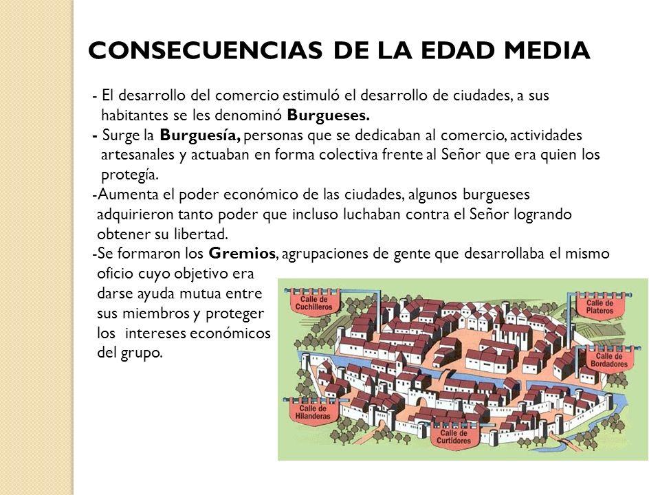 CONSECUENCIAS DE LA EDAD MEDIA - El desarrollo del comercio estimuló el desarrollo de ciudades, a sus habitantes se les denominó Burgueses. - Surge la