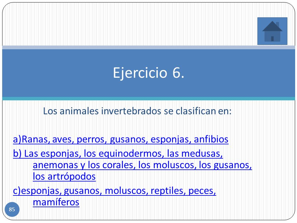 Incorrecto. Los animales invertebrados son los animales que no tienen vertebras. b. Falso 84