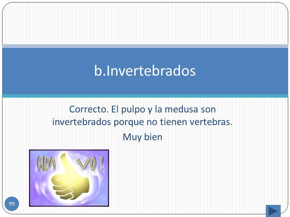 Incorrecto. Porque el pulpo y la medusa no tienen vertebras y si no tienen vertebras son invertebrados. a. Vertebrados 98