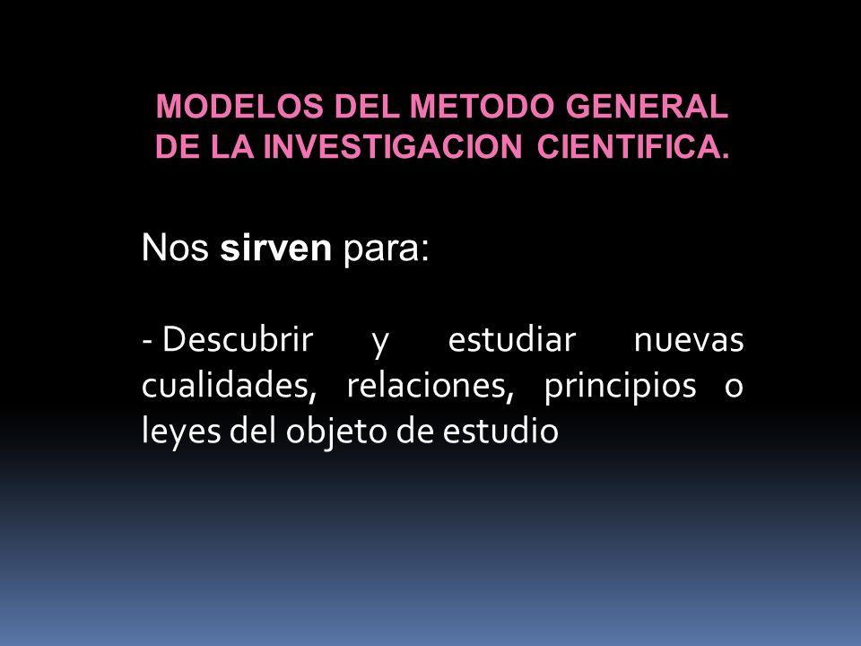 MODELOS DEL METODO GENERAL DE LA INVESTIGACION CIENTIFICA. Nos sirven para: - Descubrir y estudiar nuevas cualidades, relaciones, principios o leyes d