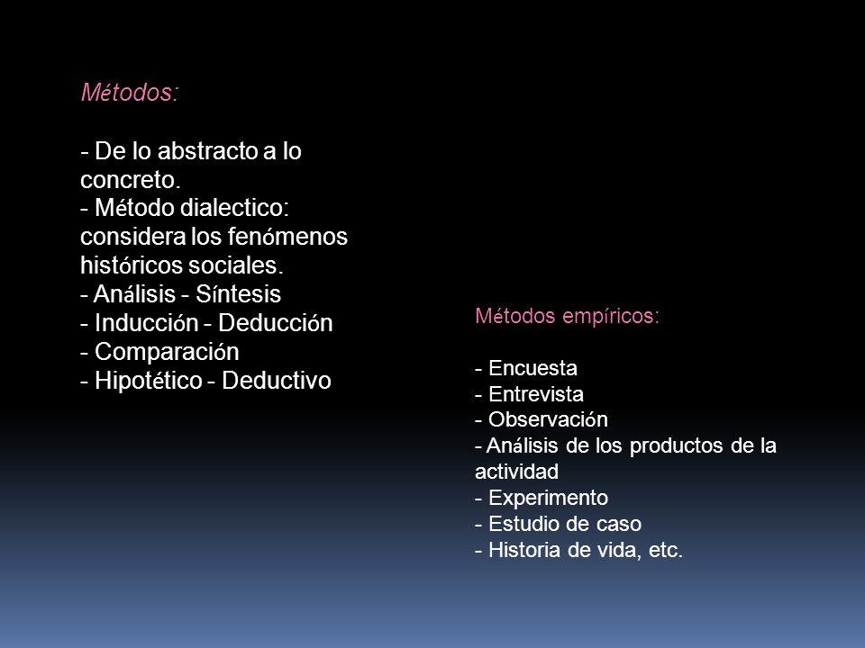 El método deductivo: es aquel que parte de datos generales aceptados como validos para llegar a una conclusión de tipo particular.