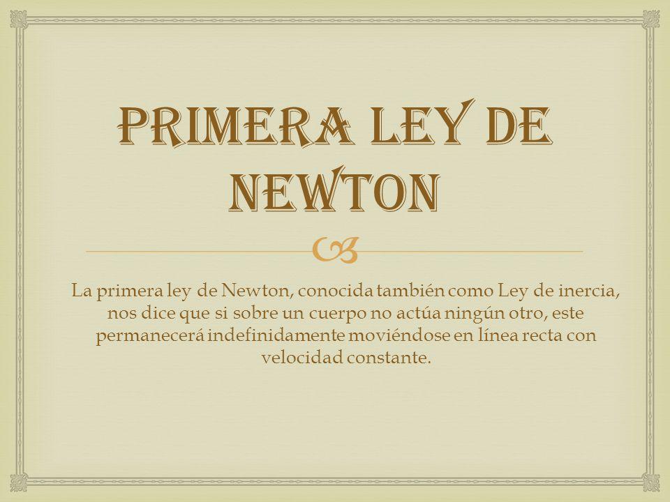 PRIMERA LEY DE NEWTON La primera ley de Newton, conocida también como Ley de inercia, nos dice que si sobre un cuerpo no actúa ningún otro, este perma