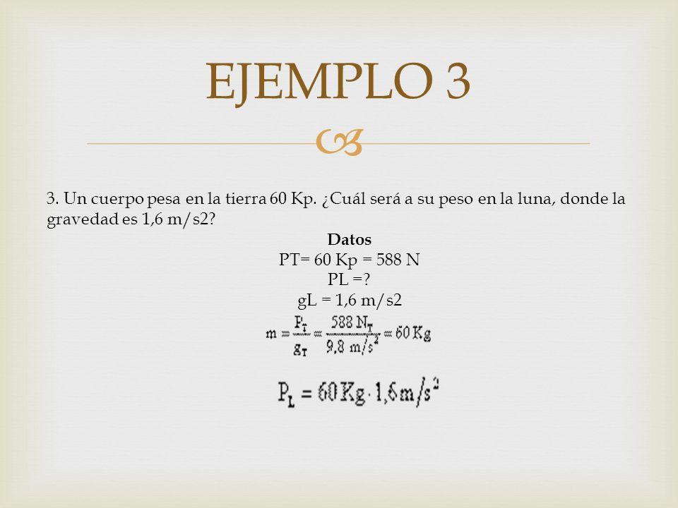 EJEMPLO 3 3. Un cuerpo pesa en la tierra 60 Kp. ¿Cuál será a su peso en la luna, donde la gravedad es 1,6 m/s2? Datos PT= 60 Kp = 588 N PL =? gL = 1,6