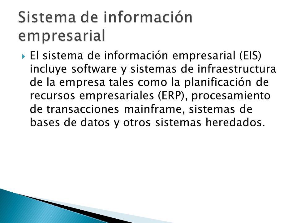 El sistema de información empresarial (EIS) incluye software y sistemas de infraestructura de la empresa tales como la planificación de recursos empre