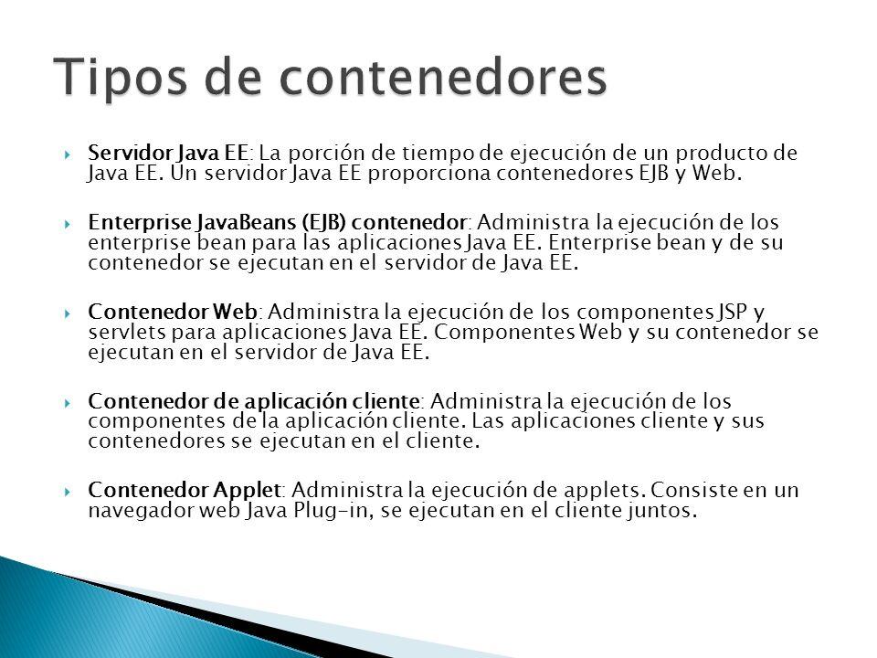 Servidor Java EE: La porción de tiempo de ejecución de un producto de Java EE. Un servidor Java EE proporciona contenedores EJB y Web. Enterprise Java