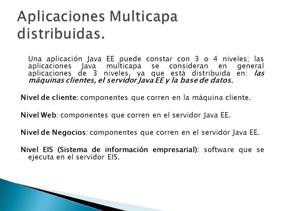 Una aplicación Java EE puede constar con 3 o 4 niveles; las aplicaciones Java multicapa se consideran en general aplicaciones de 3 niveles, ya que est